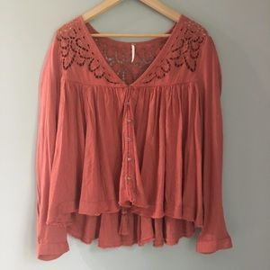 Free People Boho long sleeve blouse SMALL